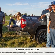 KFB Claims Director, George Bates, joins the Gilbert family as they get a chuckle at city slickers Sam and Julian attempting to drive their tractors.
