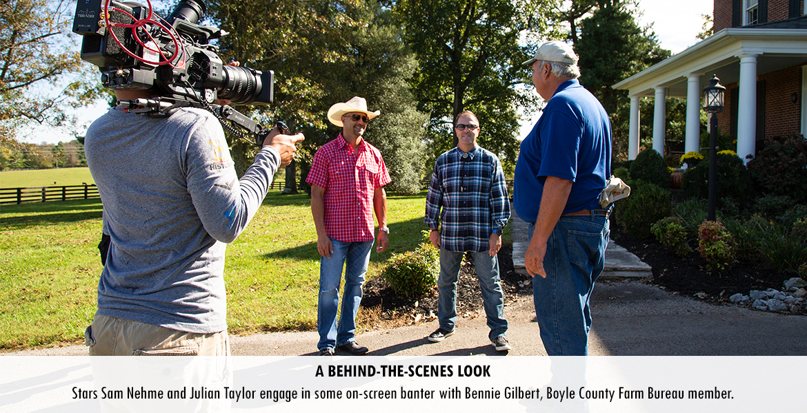 Stars Sam Nehme and Julian Taylor engage in some on-screen banter with Bennie Gilbert, Boyle County Farm Bureau member.